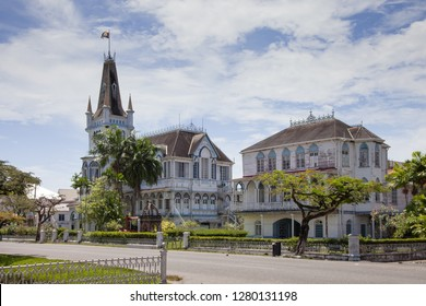 View of Georgetown city Hall. Georgetown City Hall is a nineteenth-century Gothic Revival building located on the corner of Regent Street and Avenue of the Republic in Georgetown, Guyana