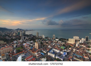 View of Georgetown City of Penang Malaysia in sunset at top of Komtar Tower