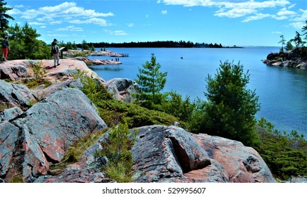 The view of Georgian Bay along the Chikanishing trail in Killarney Provincial Park, Ontario, Canada