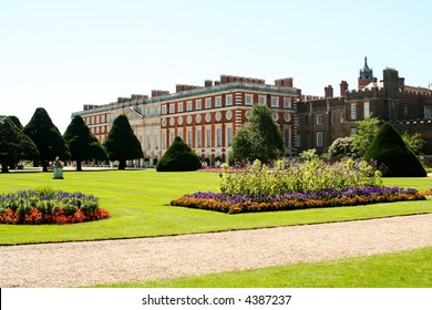 View of the Georgian section of Hampton Court Place, and the formal gardens