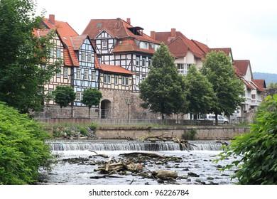 view of german city hann muenden with river fulda