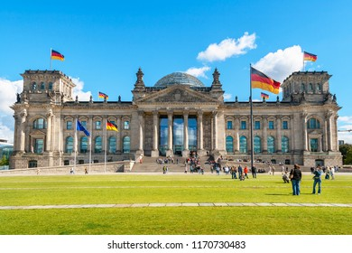 View of German Government Parliament building - Reichstag. Berlin, Germany