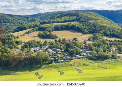 View of german landscape in Sauerland from above