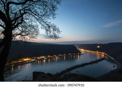 view from the german loreley rock in the evening