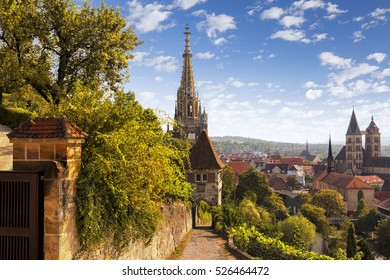 view  of german  medieval town Esslingen am Neckar