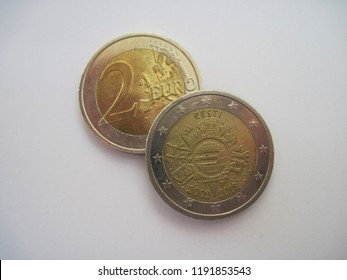 """View of German two euro coin. Germany 2 euros 2012 - 10 years of euro banknotes and coins """"G"""" - Karlsruhe. Great for numismatic collection."""