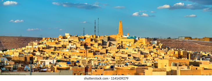 View of Ghardaia, a city in the Mzab Valley. A UNESCO world heritage site in Algeria