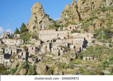 View of the ghost village Pentedattilo, Aspromonte, Calabria, Italy