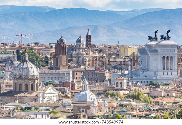 View Gianicolo Hill Rome Italy Buildings Landmarks Stock