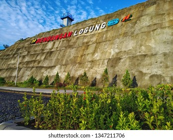 View of giant letters of Bendungan/dam Logung. One of 65 dam built by Kementrian PUPR  to support NawaCita program of Presiden Jokowi (Joko Widodo). March 10, 2019, Kudus Jawa Tengah, Indonesia.