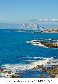 The view of Gibraltar from Sotogrande in Spain