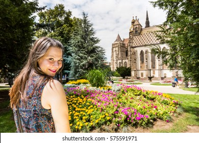 View of a girl in the park in front of the St. Elisabeth Cathedral in Kosice, Slovakia