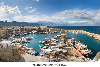 The view from Girne Castle Harbour, Northern Cyprus. Winter.