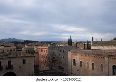 View of Girona.  Old city at dusk