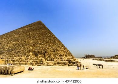 View of the Giza Pyramids. Egypt. Cairo.
