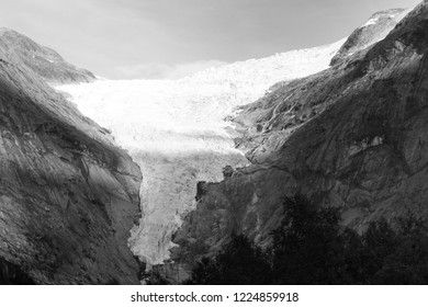 View from the glacier Briksdalsbreen one of the most accessible and best known arms of the Jostedalsbreen glacier. Briksdalsbreen is located in the municipality of Stryn in Sogn og Fjordane county.