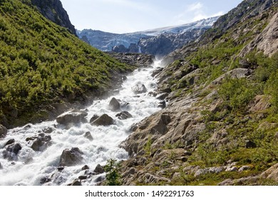 View to the glacier. The glacier Buarbreen in the municipality of Odda in Hordaland county (Norway).
