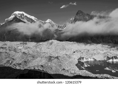 View of the glacier Gokyo with peaks Khangchung (6103 m) - Gokyo region, Nepal (black and white)