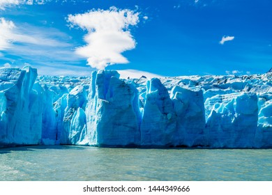 View of Glacier Grey on Lake Grey at Torres del Paine National Park in sunny day, Chile
