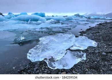 View of the glacier lagoon, Jokulsarlon, Iceland. Jokulsarlon is a large glacial lake in southeast Iceland, on the edge of Vatnajokull National Park.