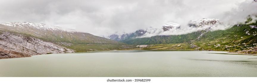 View of the glacier lake at Svartisen glacier, Norway