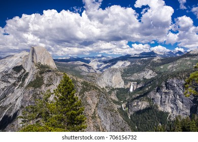 The view from Glacier Point in Yosemite National Park with cumulus clouds