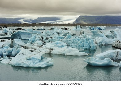 view of glaciers from Ice Lagoon Jokulsarlon, Iceland