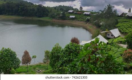 View at the Glamping Lake, Ciwidey, Bandung, West Java, Indonesia.