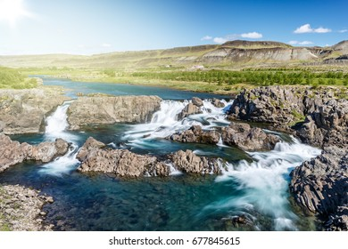 View of Glanni waterfall in Iceland