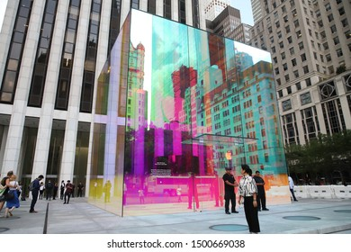 View of the glass and steel cube of the Fifth Avenue Apple Store that has been under construction since 2017 in New York in the United States