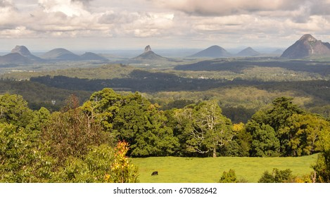 View of the Glasshouse Mountains in the Sunshine Coast, Queensland