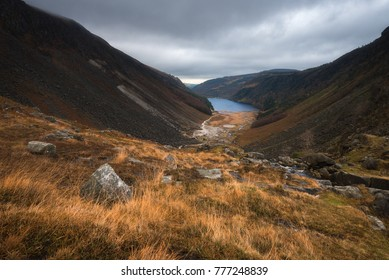 View of the Glendalough Upper lake in Wicklow National Park in Ireland.