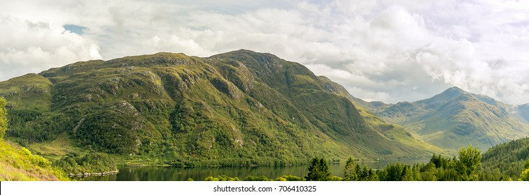 View of Glenfinnan in Highlands mountains in Scotland, UK