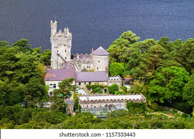 A view of Glenveagh Castle from a nearby mountain in Glenveagh National Park in Donegal, Ireland