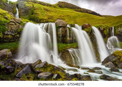 View of Gluggafoss waterfall in Iceland