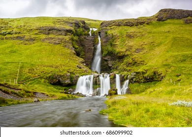View of Gluggafoss waterfall and the river in Iceland