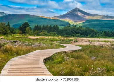 View of the Goat Fell Mountain, Brodick (Breadhaig) the main town on the Isle of Arran in the Firth of Clyde, Scotland.