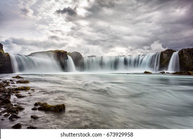 View of Godafoss waterfall in Iceland