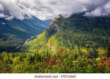 View from Going to the Sun Road on a sunny autumn morning in Glacier National Park, MT