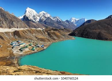 View of Gokyo lake and peak range from Gokyo Ri, Sagarmatha national park, Khumbu valley, Nepal