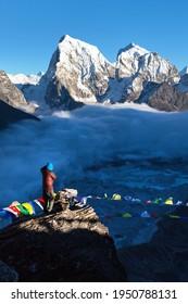 View from Gokyo ri peak to Ngozumba glacier, mounts Arakam Tse and Chola Tse Khumbu valley, Nepal Himalayas mountains