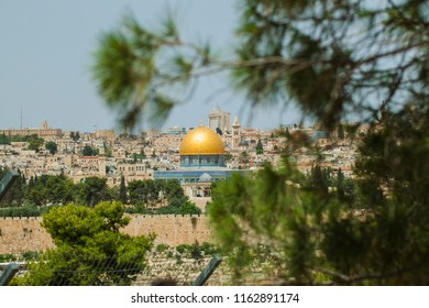 View golden dome of the mosque in Jerusalem