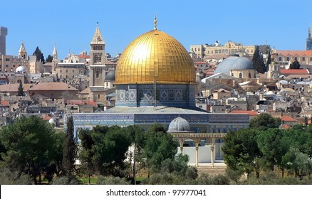 view of the golden Dome of the Rock of Al Aqsa Mosque from the Mount of Olives.Jerusalem, Israel