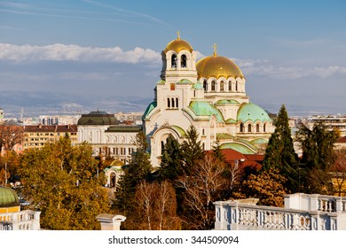A view of golden domes st. Aleksander Nevski cathedral and downtown Sofia, Bulgaria