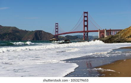 View of the Golden Gate Bridge from Baker's Beach in the Presidio of San Francisco