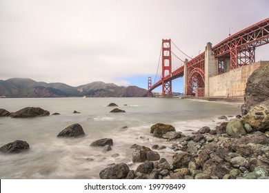 View of Golden Gate Bridge from Marshall Beach in San Francisco