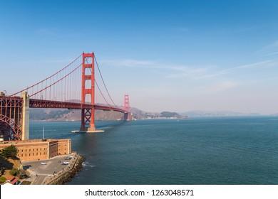 View of the Golden gate bridge in San Francisco. California, USA, November 2018