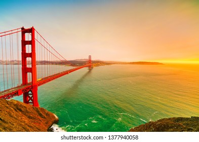 View of Golden Gate Bridge in San Francisco at sunset.
