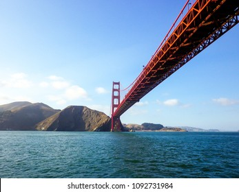 View of the Golden Gate bridge from the water below, San Francisco, California, USA