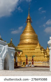 View of the golden Kuthodaw Pagoda in Mandalay.